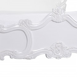 French White Carved Rose Cherub Double Size 4ft6 Bed