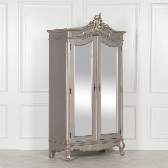 French mirrored wardrobe style silver carved double full ...