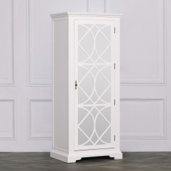 White Single Mirrored Door Wardrobe