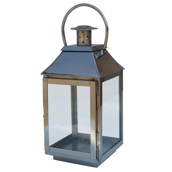 Polished Stainless Steel Medium Glass Lantern
