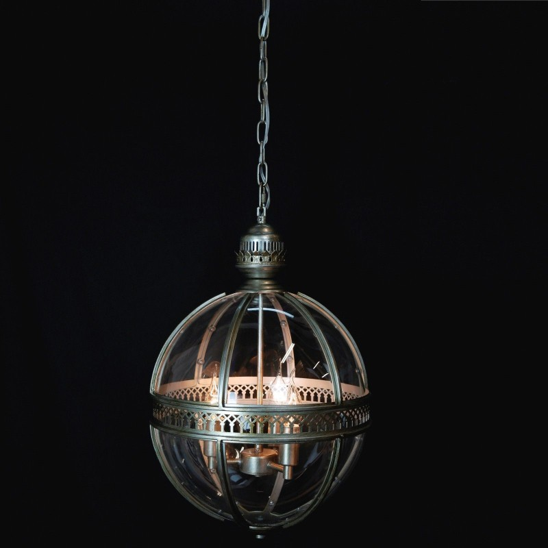 Antiqued silver london globe ceiling light aloadofball Gallery