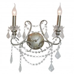 Antique Silver 2 Branch Chandelier Wall Light