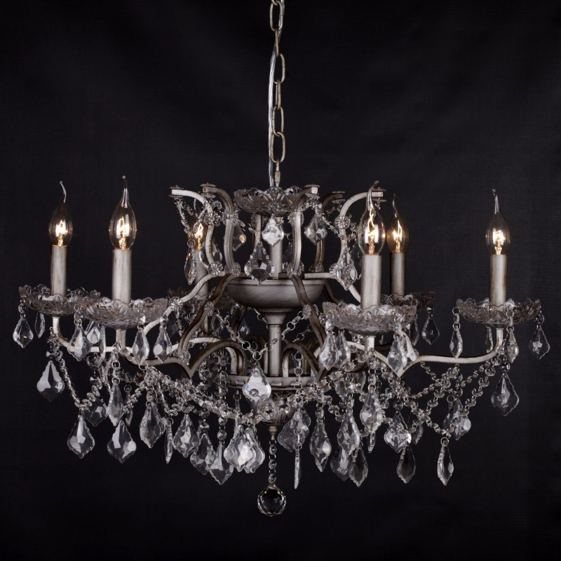 Antique silver 6 branch shallow cut glass chandelier mozeypictures Images