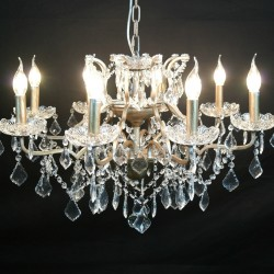 Antique Silver 8 Branch Shallow Cut Glass Chandelier