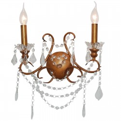 Antiqued Gold 2 Branch Chandelier Wall Light