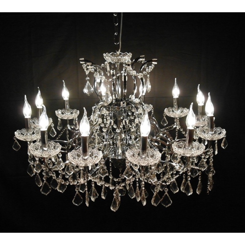 12 branch shallow cut glass chandelier chrome 12 branch shallow cut glass chandelier aloadofball Gallery