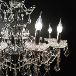 Chrome 12 Branch Shallow Cut Glass Chandelier