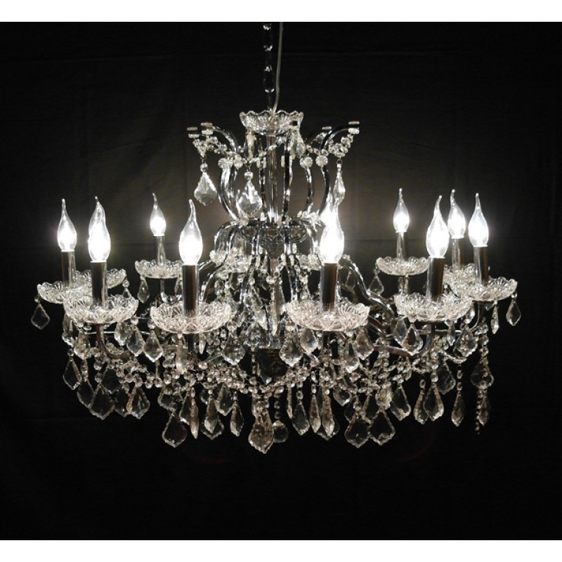 Chrome 12 branch shallow cut glass chandelier aloadofball Choice Image