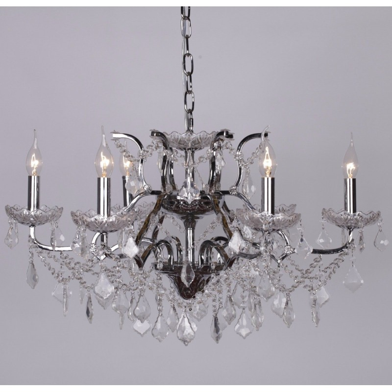 Chrome 6 branch shallow cut glass chandelier mozeypictures Images
