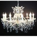 Cream 12 Branch Shallow Cut Glass Chandelier