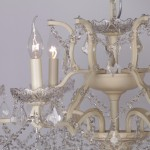 Cream 6 Branch Shallow Cut Glass Chandelier