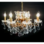 Gold 8 Branch Shallow Cut Glass Chandelier