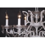 White 6 Branch Shallow Cut Glass Chandelier