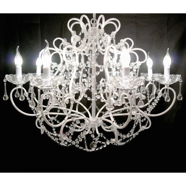 White 8 Branch French Cut Glass Chandelier