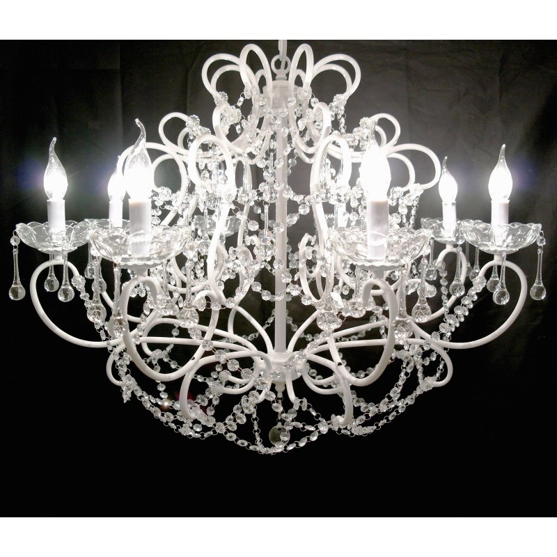 White 8 branch french cut glass chandelier mozeypictures Images