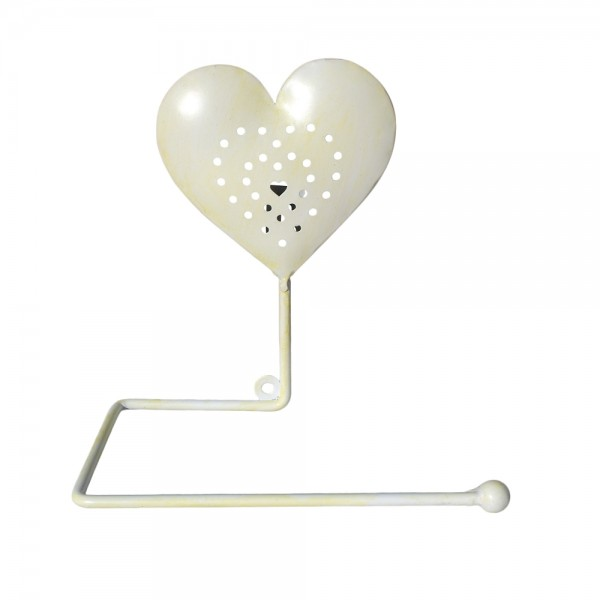 Cream Heart Toilet Roll Holder