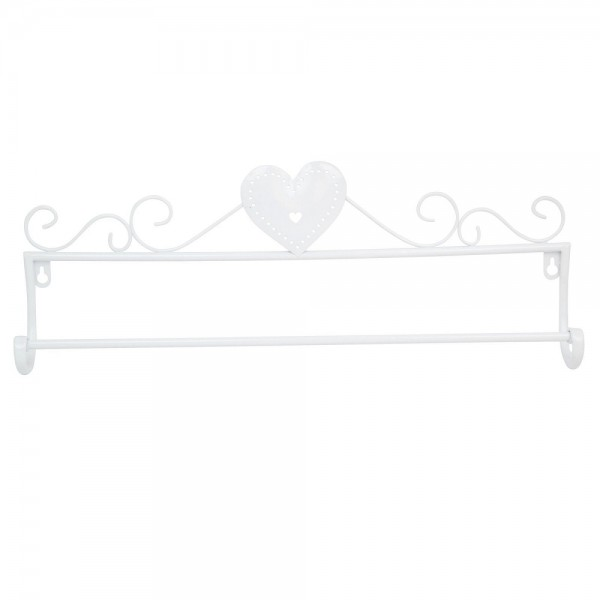 White Heart Metal Towel Rail