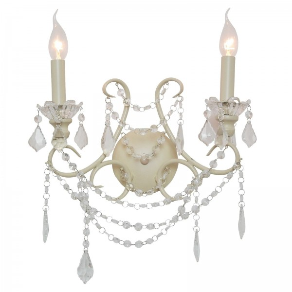 Cream 2 Branch Chandelier Wall Light