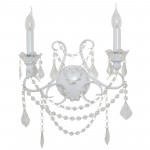 White 2 Branch Cut Glass Chandelier Wall Light