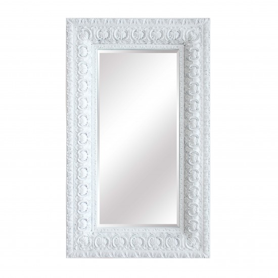 Extra Large Distressed White Patterned Frame Mirror