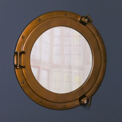 Antiqued Brass Style Port Hole Mirror