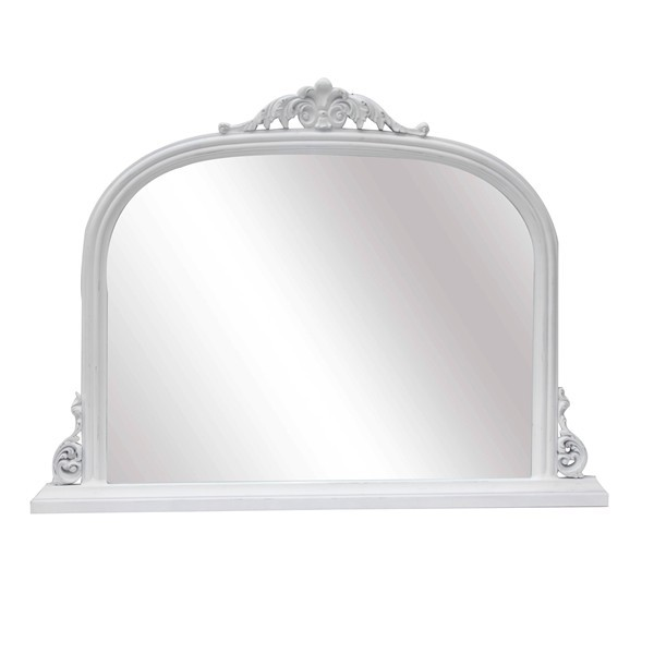 French White Distressed Overmantle Mirror