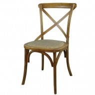 Dark Wooden Cross Back Dining Chair