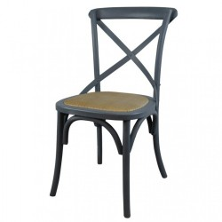 Grey Painted Wooden Cross Back Dining Chair