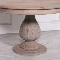 Light Wooden Round Pedestal Acorn Dining Table 120cm