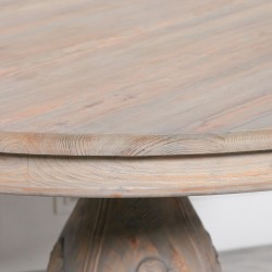 Light Wooden Round Pedestal Acorn Dining Table 150cm