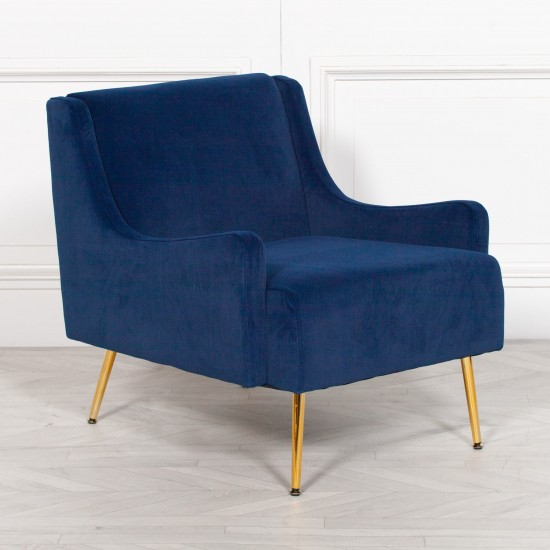 Blue Velvet Sofa Chair