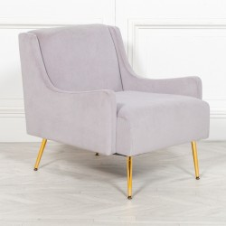 Grey Velvet Sofa Chair