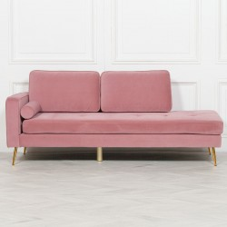 Deco Pink Chaise Longue with Gold Legs