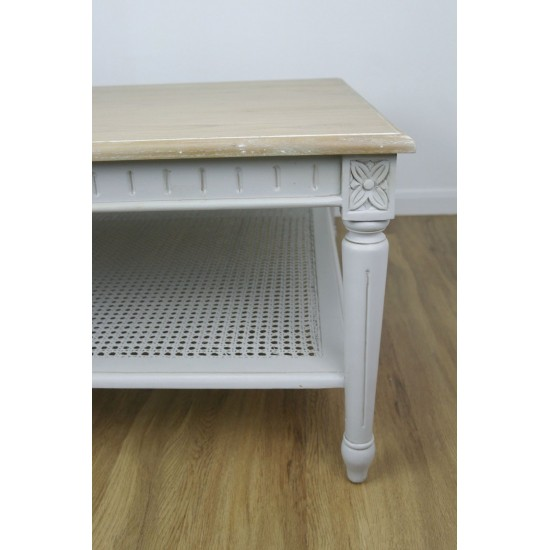 Grey Painted Coffee Table with Wooden Top