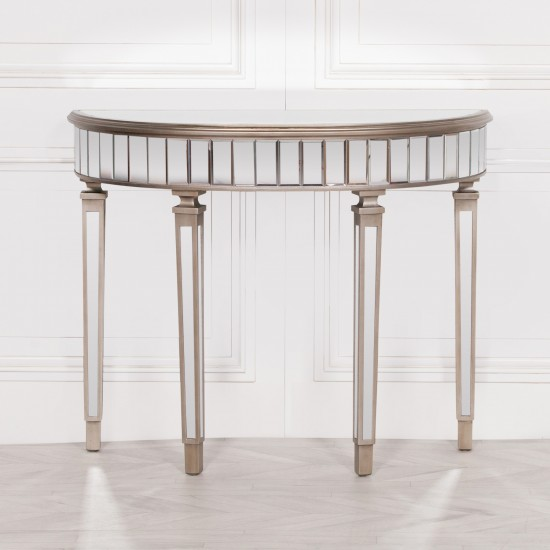 Champagne Silver Half Moon Hall Table