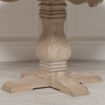 Rustic Wooden Round Pedestal Dining Table
