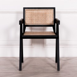 Black Wooden Caned Dining Chair