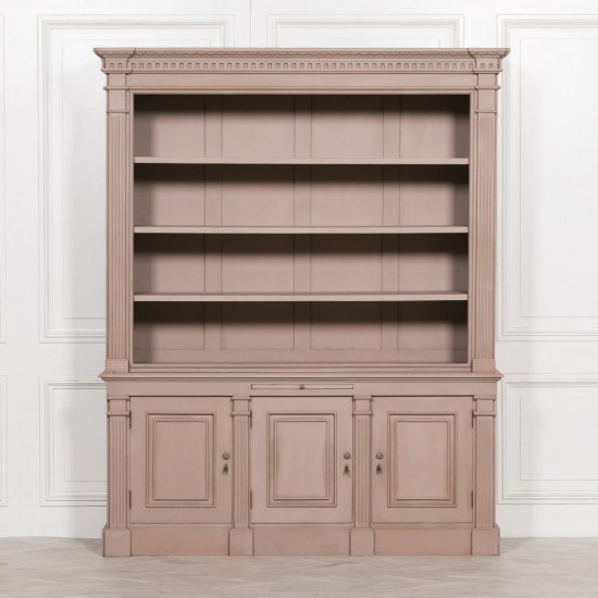 Grey Painted Bookcase Display Cabinet