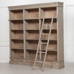 Large Rustic Wooden Bookcase with Ladder