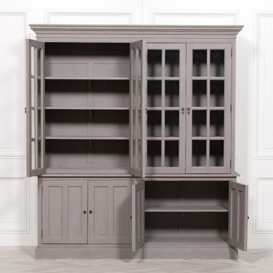 Chalky Rustic Grey Painted Display Cabinet