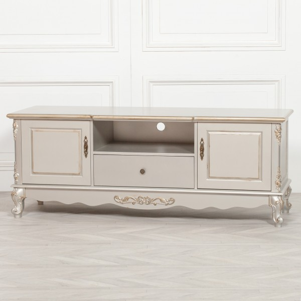French Antique Silver Large Cabinet TV Unit V2