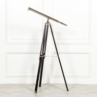 Nickel Telescope on Black Wooden Stand