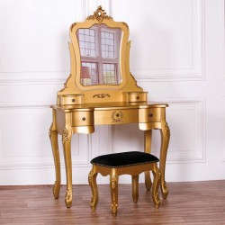 French Antique Gold Dressing Table & Stool