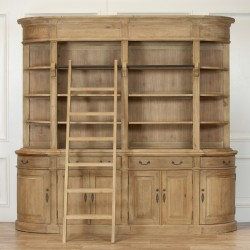 Large Wooden Antique Natural Finish Bookcase with Ladder