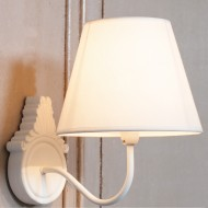 White Wooden Wall Light with Shade